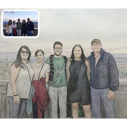 Colored pencil family portrait