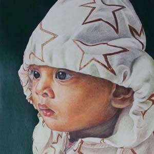 colored pencil sketch child