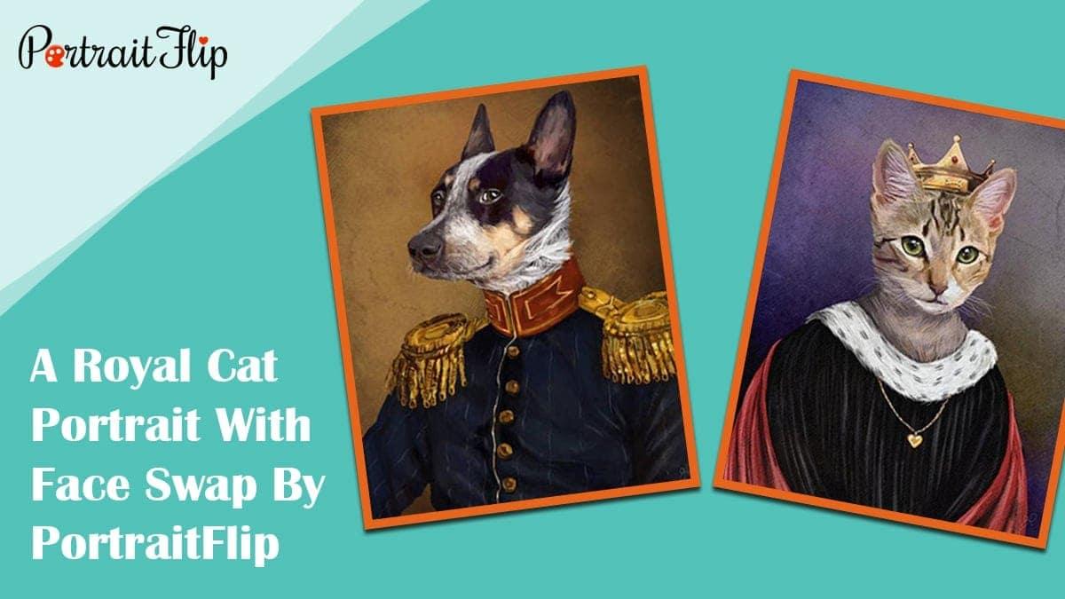 A royal cat portrait with face swap by portraitflip