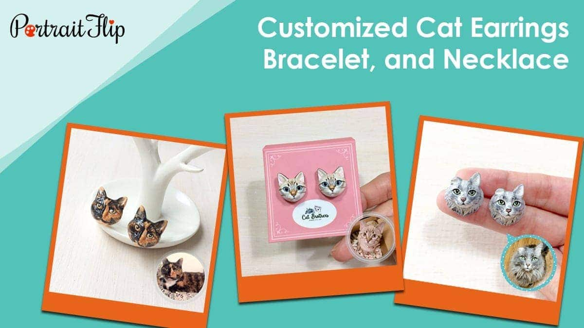 Customized cat earrings, bracelet, and necklace
