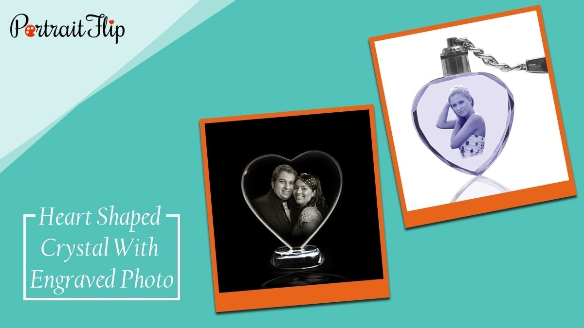 Heart shaped crystal with engraved photo