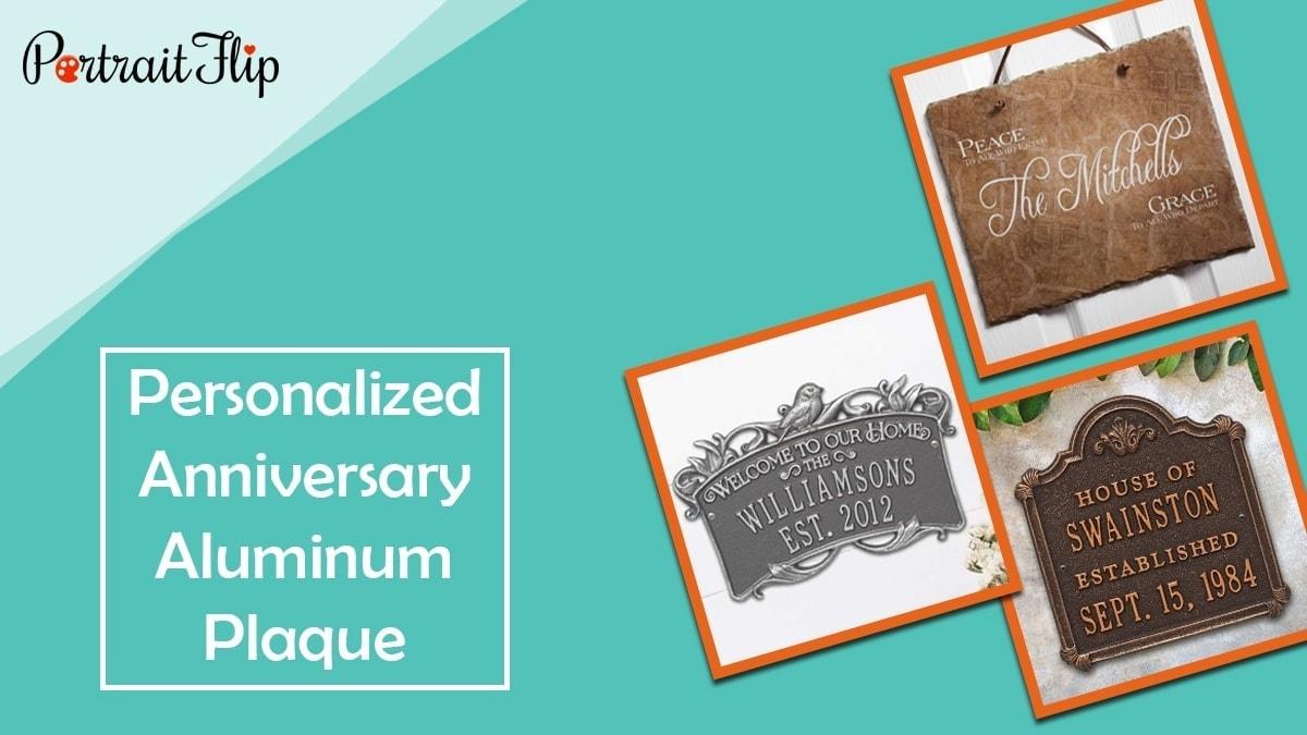 Personalized anniversary aluminum plaque