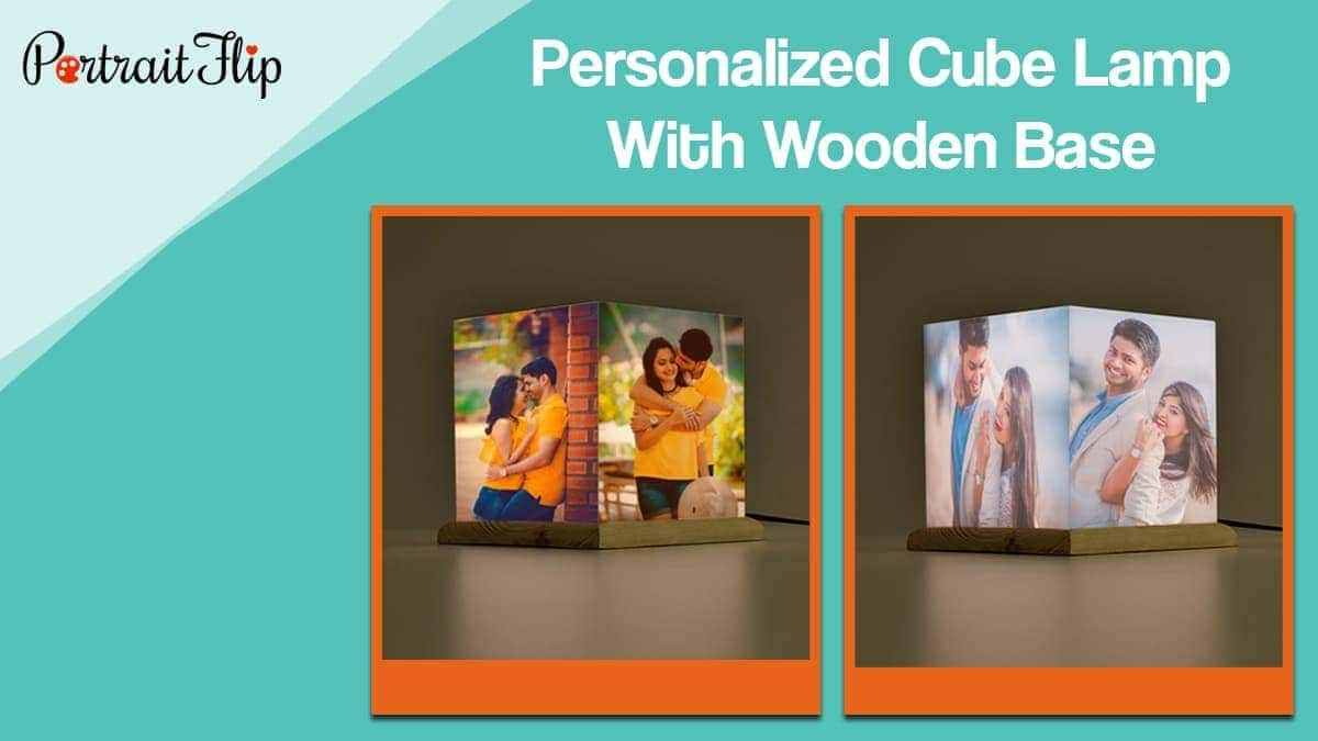 Personalized cube lamp with wooden base