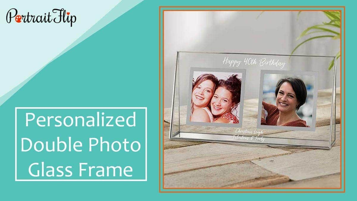 Personalized double photo glass frame