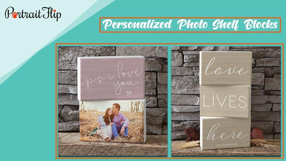 Personalized photo shelf blocks