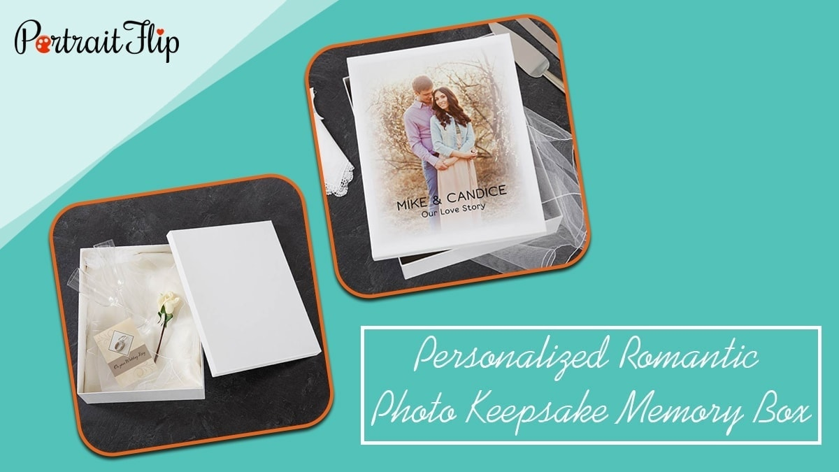 Personalized romantic photo keepsake memory box