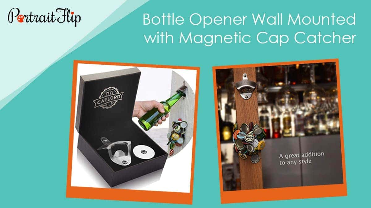 Bottle opener wall mounted with magnetic cap catcher