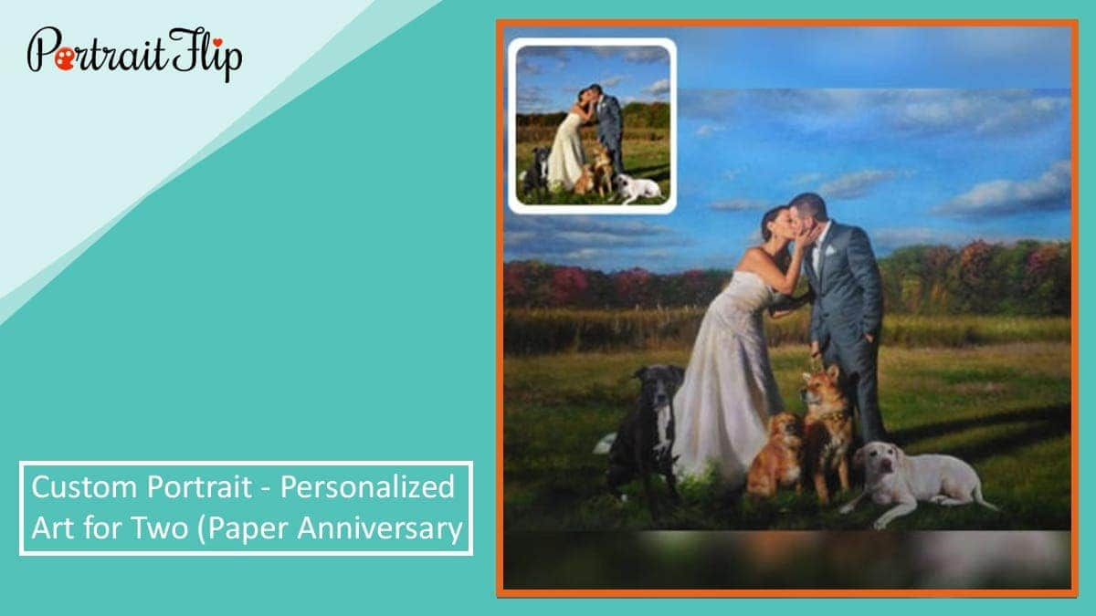 Custom portrait personalized art for two (paper anniversary