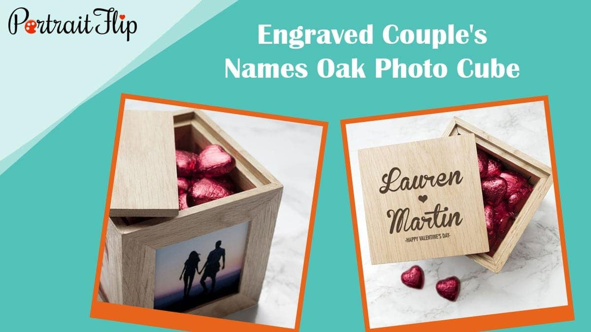 Engraved couple's names oak photo cube