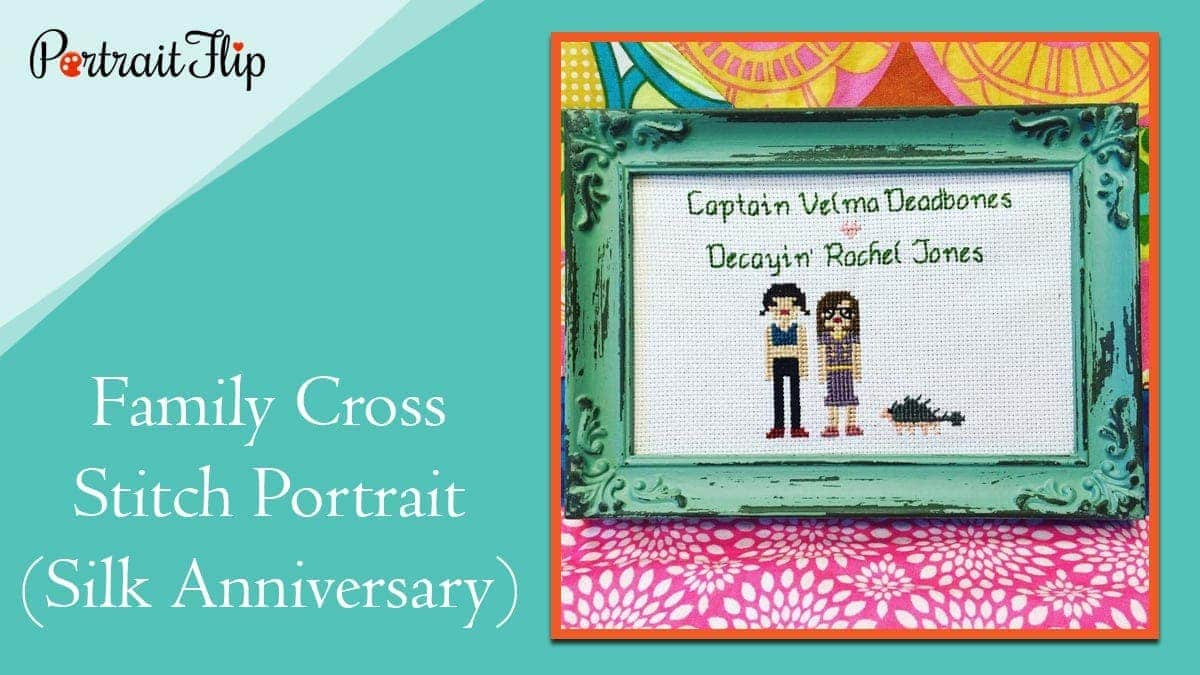 Family cross stitch portrait (silk anniversary)