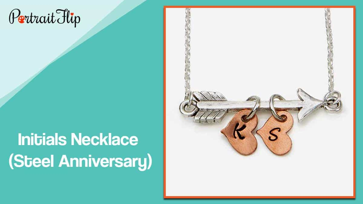 Initials necklace (steel anniversary)