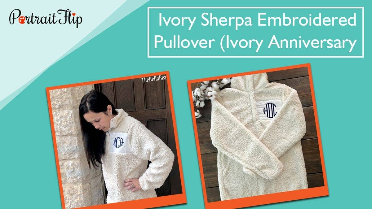 Ivory sherpa embroidered pullover (ivory anniversary)