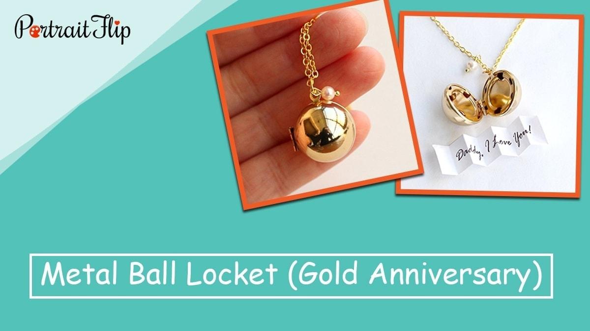 Metal ball locket (gold anniversary)