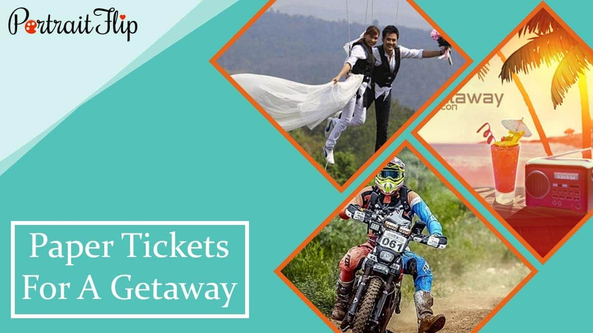 Paper tickets for a getaway