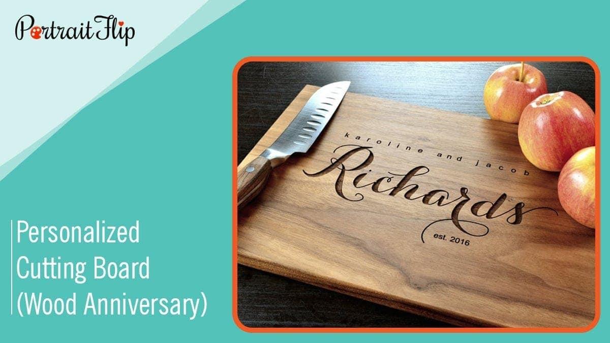 Personalized cutting board (wood anniversary)
