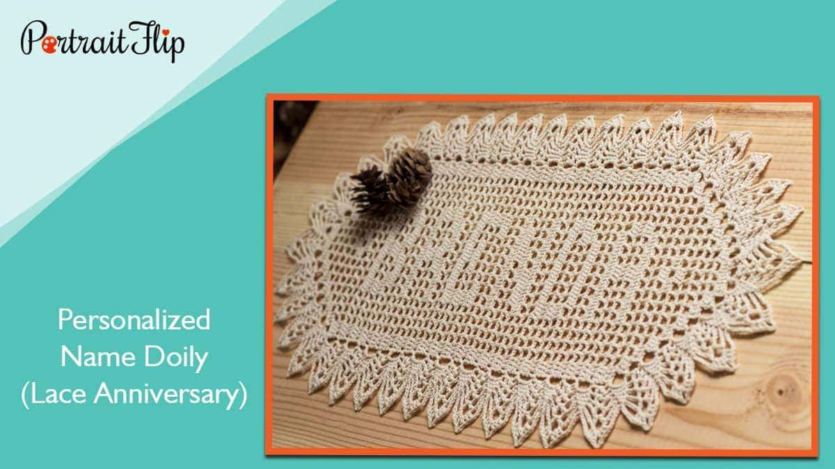 Personalized name doily (lace anniversary)