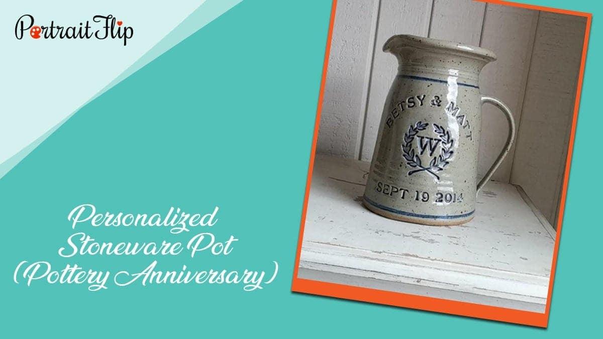 Personalized stoneware pot (pottery anniversary