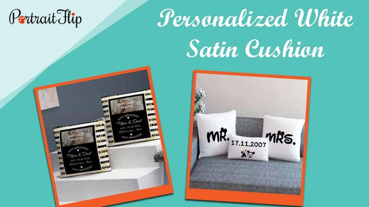 Personalized white satin cushion
