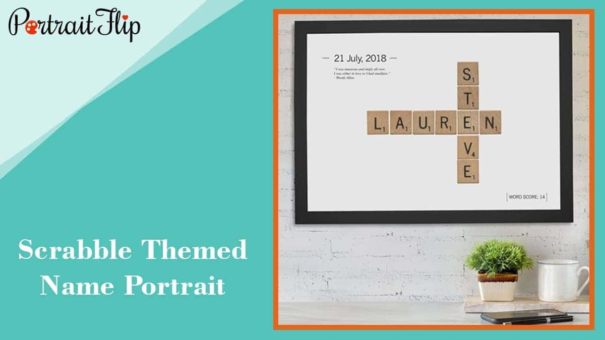 Scrabble themed name portrait