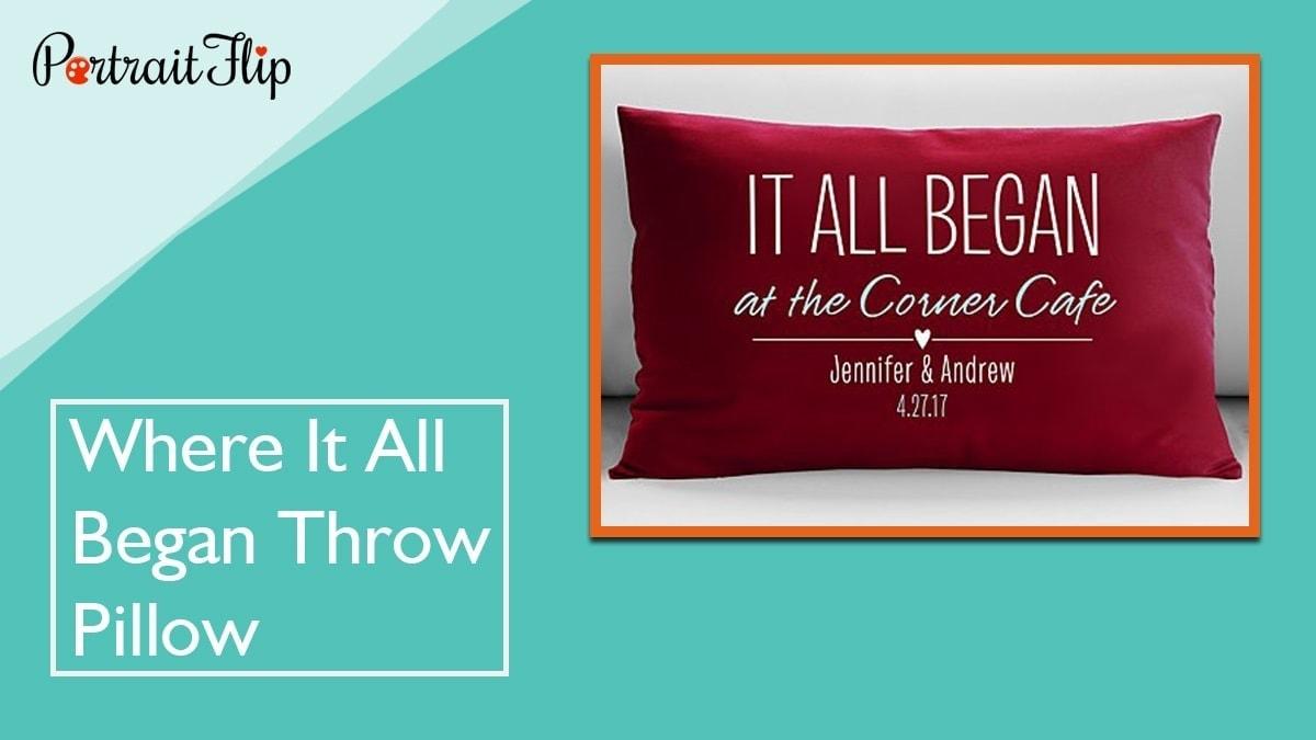 Where it all began throw pillow