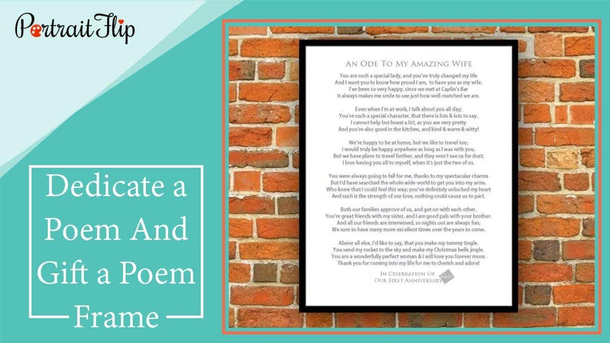 Dedicate a poem and gift a poem frame