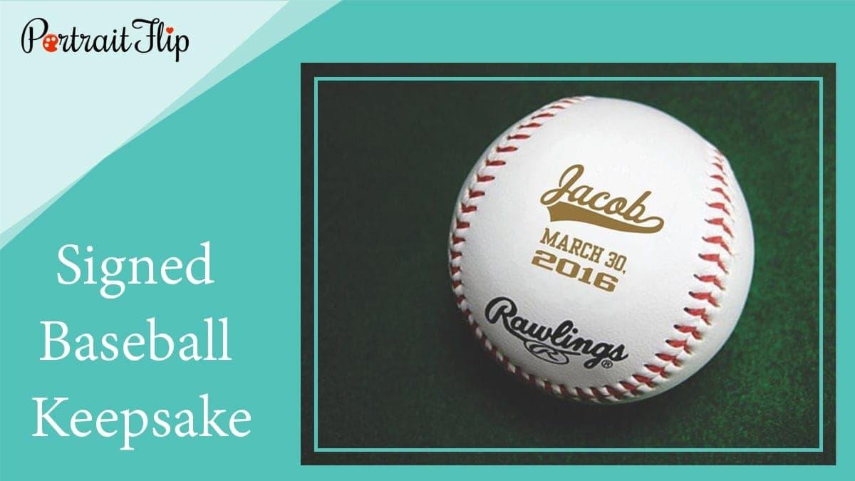 Signed baseball keepsake