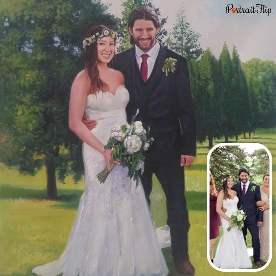 Acrylic marriage painting from photos
