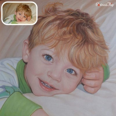 Baby boy oil painting