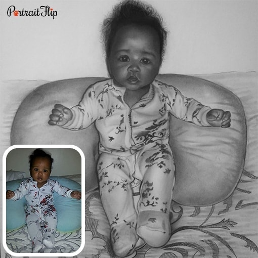 Charcoal baby portrait