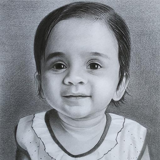 Charcoal baby portraits