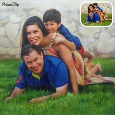Family acrylic portrait