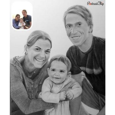 Family charcoal portrait