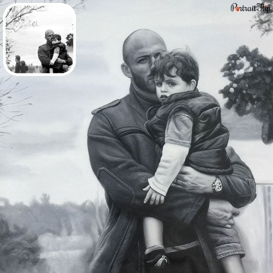 Father with son oil portrait