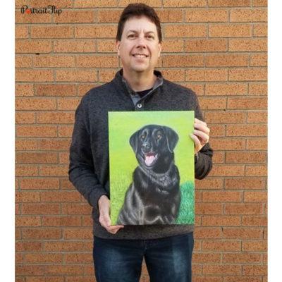 Happy customer with a acrylic dog portrait