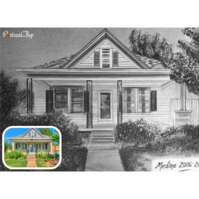 House pencil sketch portrait