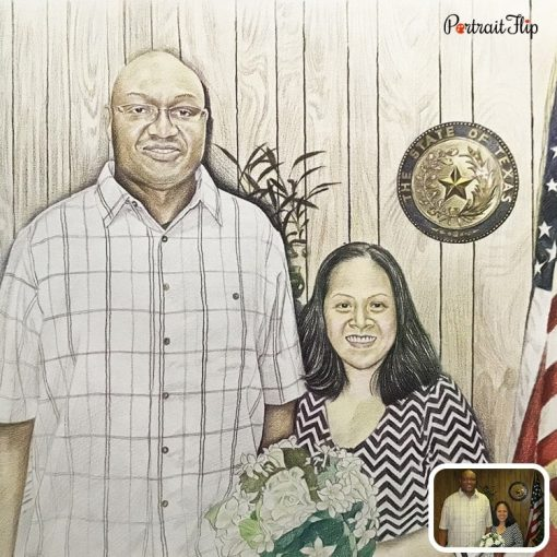 Colored Pencil Couple Drawing From Photo