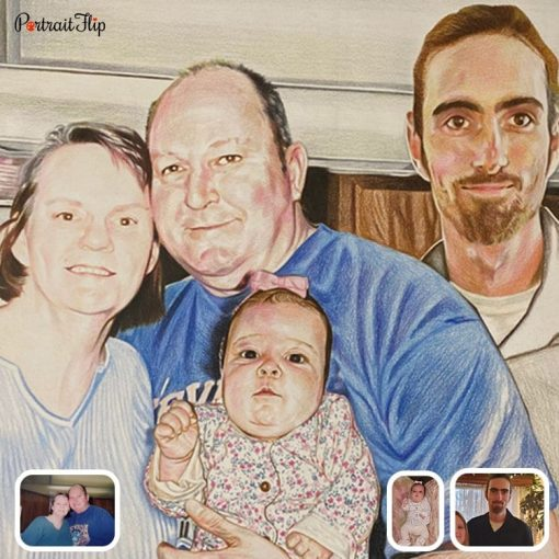 baby with family portrait