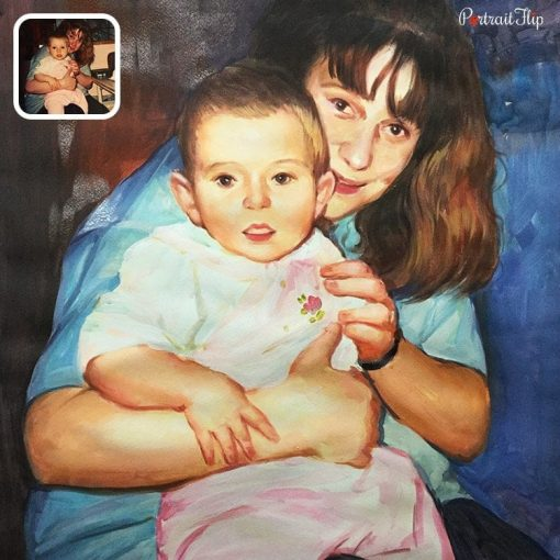 baby with mother watercolor painting
