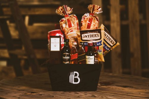 Alcohol gift basket.