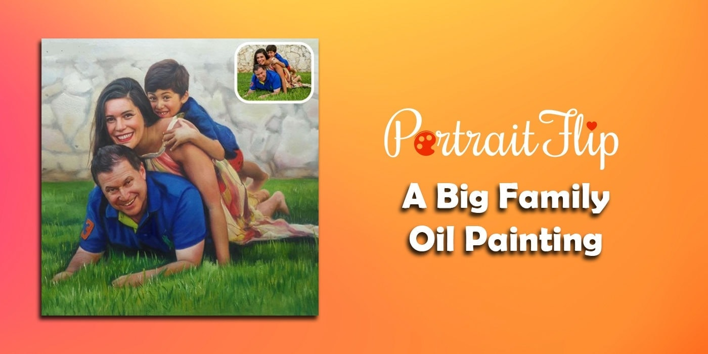 a big family oil painting