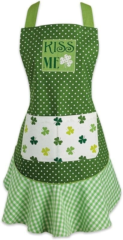 St. patricks day cotton apron with pocket and extra long ties