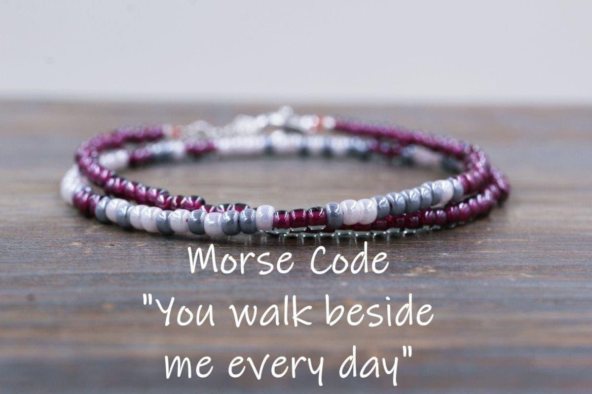 Memorial jewellery morse code bracelet