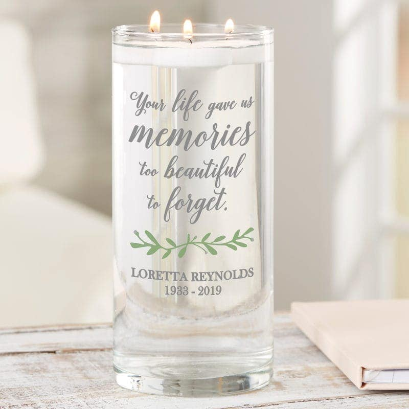 Personalized glass memorial vase