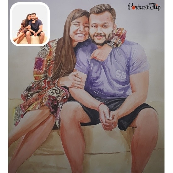 Water color couple portrait