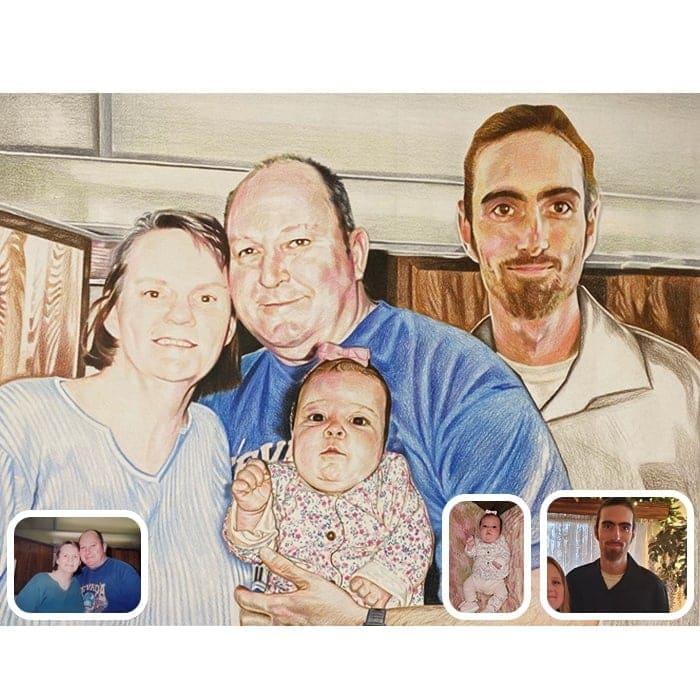 family colored pencil portrait
