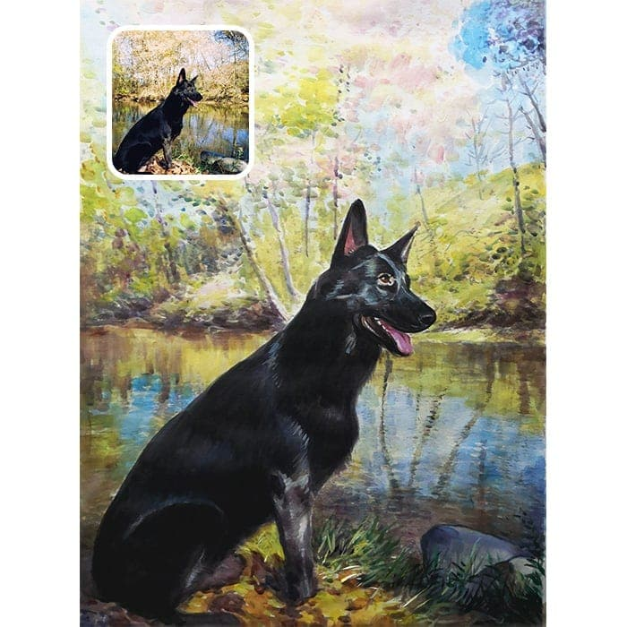 dog watercolor painting