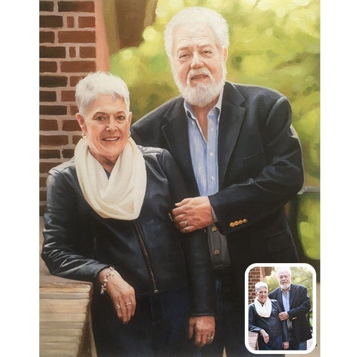 old couple oil painting