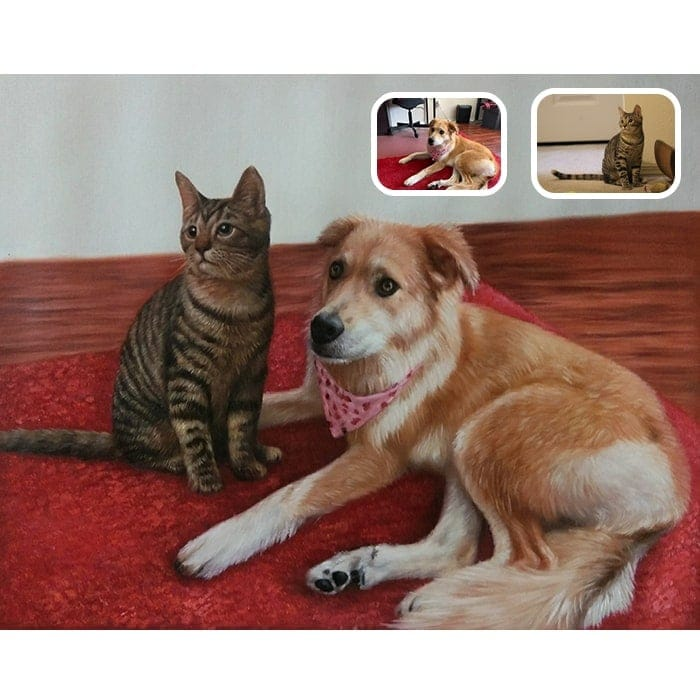 cat and dog merge painting
