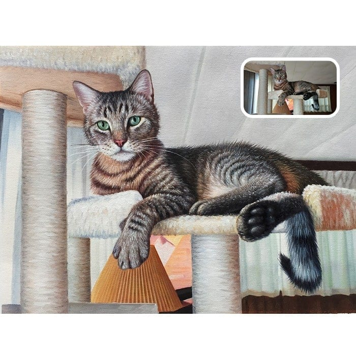 sitting cat oil portrait