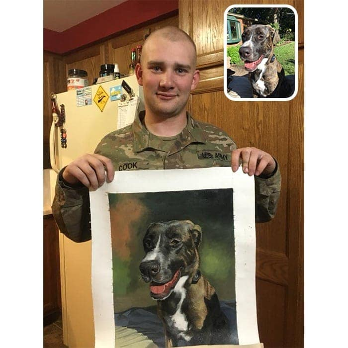 dog oil painting happy customer